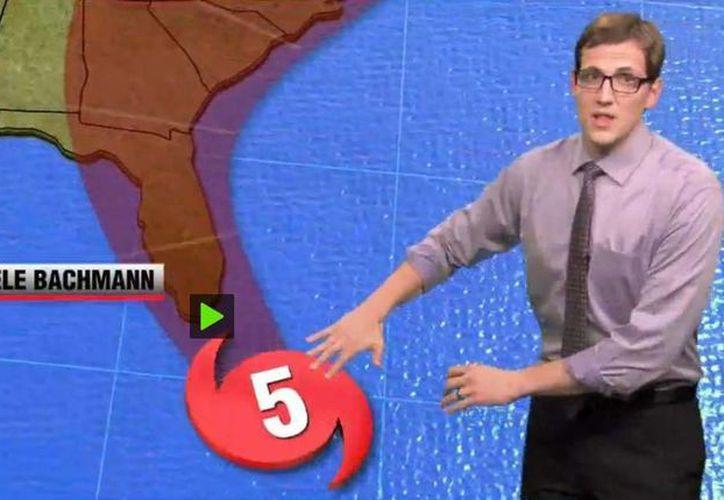 Captura de pantalla del promocional de 350 Action parodiando la información de huracanes con nombre de políticos. (actualidad.rt)