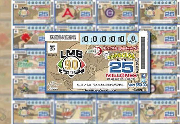 Muestra del billete que emitirá la Lotería Nacional, como parte de los festejos del aniversario 90 de la Liga Mexicana de Béisbol (Foto: milb.com)