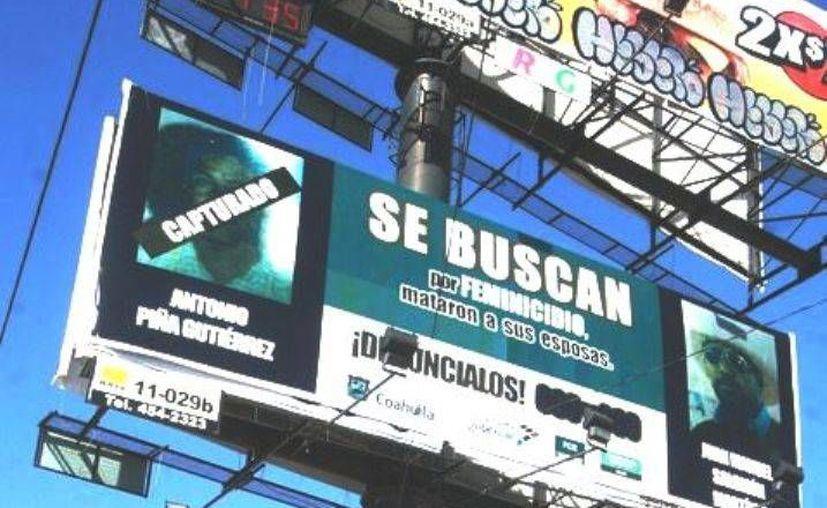 En anuncios espectaculares se pide la colaboración ciudadana para dar con el paradero de delincuentes. (Infonor)