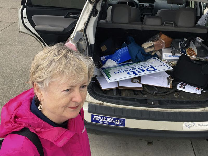 Deb Patterson prepares to canvass in Independence, Oregon hoping to win the Oregon May 15 primary and unseat four-term Republican Sen.
