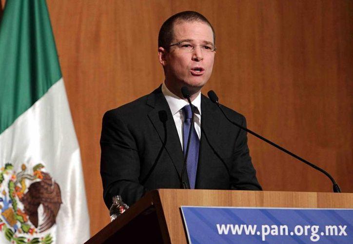 Ricardo Anaya, presidente nacional del PAN, durante la reunión del Consejo Nacional panista, este sábado. (Notimex)