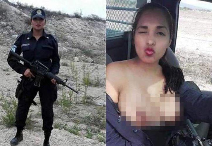 La imagen publicada por Nadia García en 'topless' a bordo de una patrulla dio la vuelta al mundo. (Excélsior)