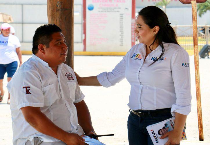 Mayuli Martínez, candidata a senadora por Quintana Roo, en su primera visita al municipio de Lázaro Cárdenas.