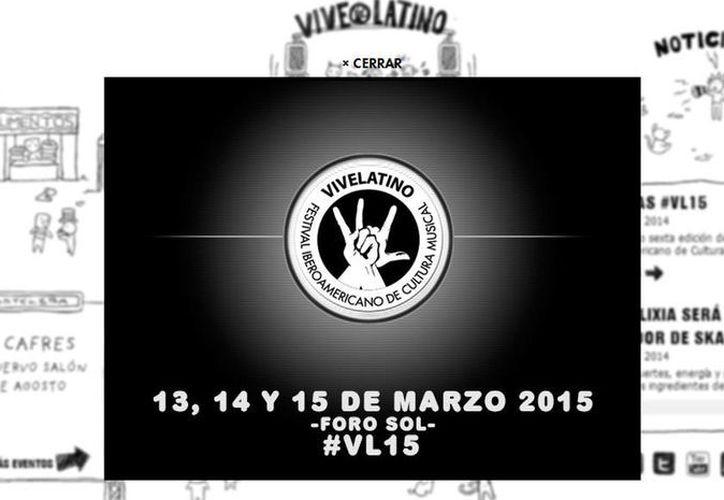 Captura de pantalla del sitio web de Vive Latino donde se anunció las fechas del evento. (www.vivelatino.com.mx)