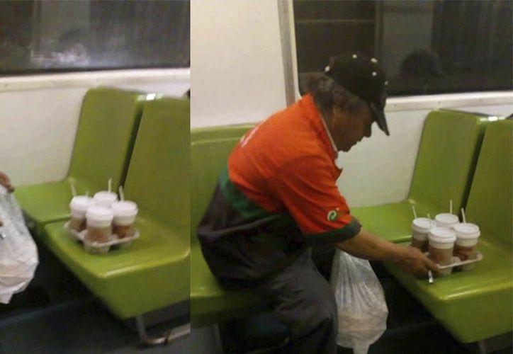 Con mucha preocupación acomodaba los cafés que le habían pedido para que no fueran a caerse. (Foto: Sipse)