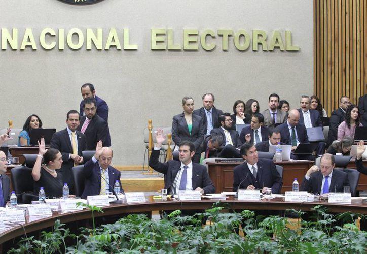 Imagen de la sesión donde se realizó la votación del Consejo General del INE. (Notimex)