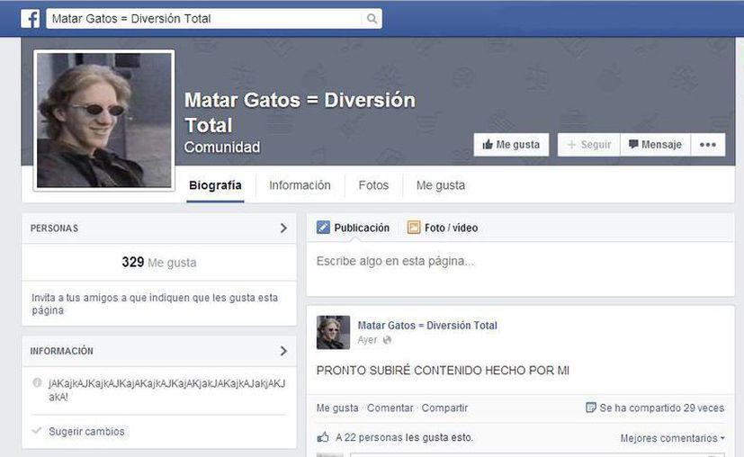 El administrador de la fanpage 'Matar Gatos = Diversión Total' advirtió que pronto subirá videos hechos por él/ella, a pesar de que cientos de usuarios han denunciado la página. (Captura de pantalla)