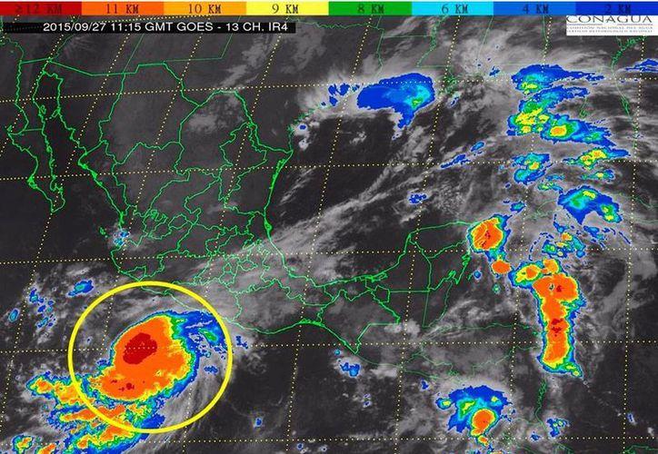 Imagen de satélite que muestra la ubicación de la tormenta tropical 'Marty' en el océano Pacífico. (SMN)