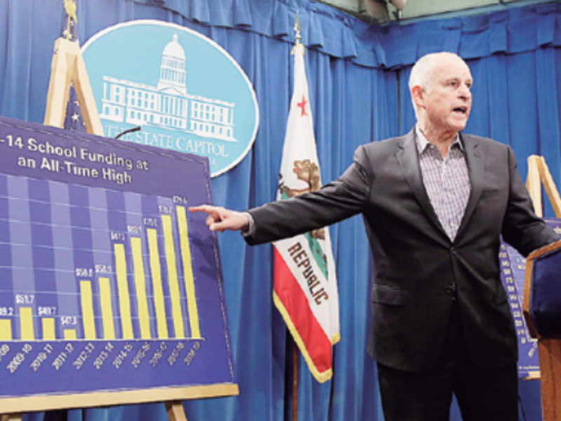 Gov. Jerry Brown gestures toward a chart showing the increase in K-14 school funding, while discussing his revised 2018-19 state budget at a Capitol news conference, in Sacramento, Calif. (AP)