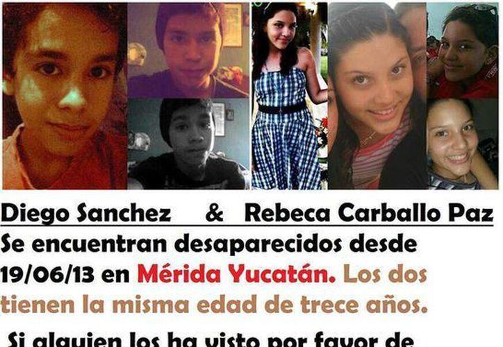 Cartel que estuvo circulando en usuarios de redes sociales de Quintana Roo, sobre la desaparición de los adolescentes de Mérida. (Facebook)