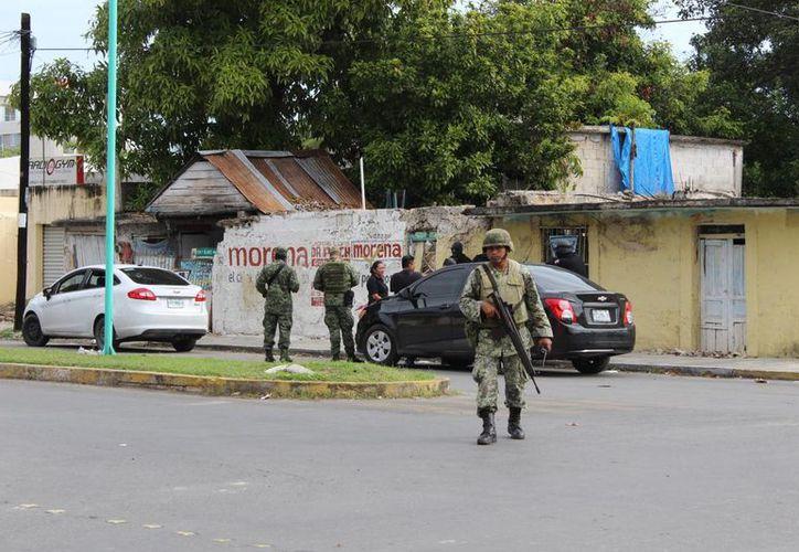 El operativo concluyó al mediodía, agentes y militares se retiraron del sitio. (Eddy Bonilla/ SIPSE)