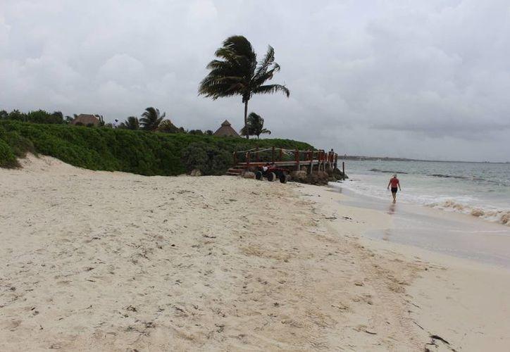 """Tres estructuras de barreras artificiales llamadas """"geotubos"""" han ayudado a la preservación de los arenales de un hotel ubicado al norte del municipio.  (Luis Ballesteros/SIPSE)"""