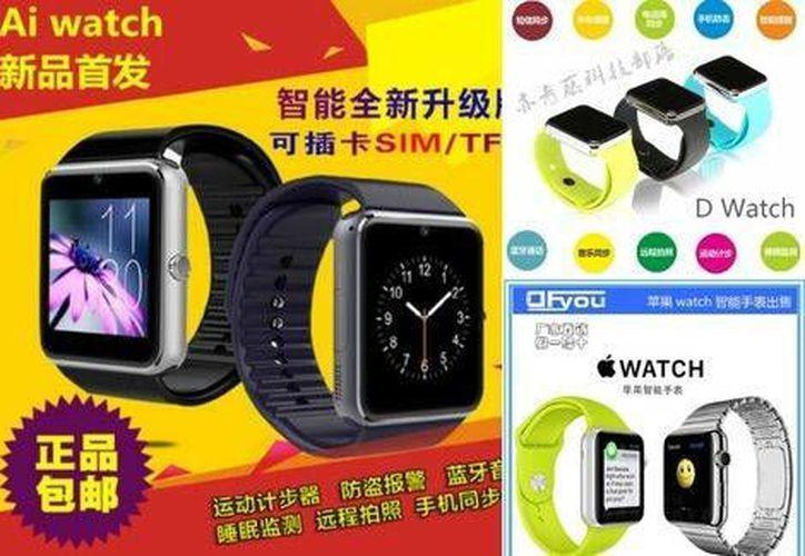 """El """"Ai Watch"""" o el """"D Watch"""" son relojes inteligentes muy similares al Apple Watch. (taobao.com)"""