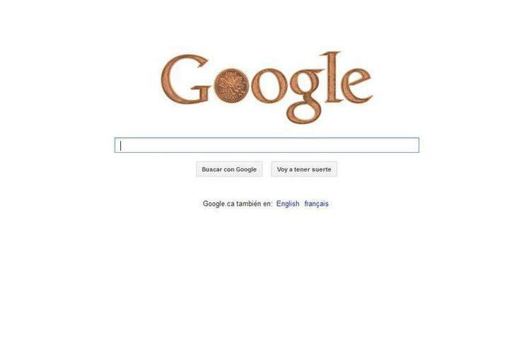 En su portal canadiense, Google destaca el fin de esa denominación monetaria con un penique que sustituye la primera O. (google.ca)