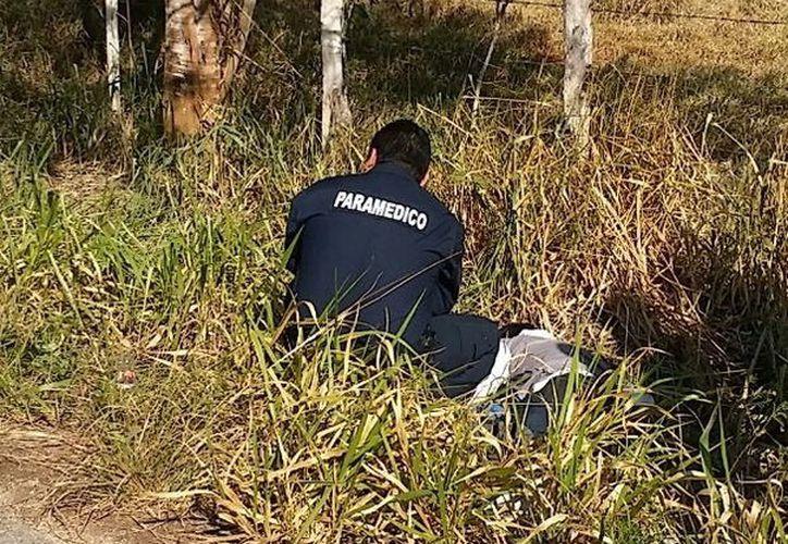 Paramédicos llegaron a la vía Santa Elena-El Cuyo, al oriente de Yucatán, a la altura del Rancho Alegre para auxiliar a un joven motociclista que derrapó cuando circulaba sobre la vía. Nada pudieron hacer: esta muerto. (SIPSE)