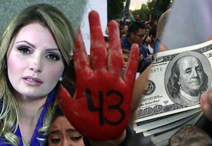 De izquierda a derecha: Angélica Rivera pone a la venta su 'Casa Blanca'; aspecto de una de las marchas por los 43 normalistas de Ayotzinapa, y el dólar, que este año se fortaleció notablemente frente a la moneda mexicana. (SIPSE)