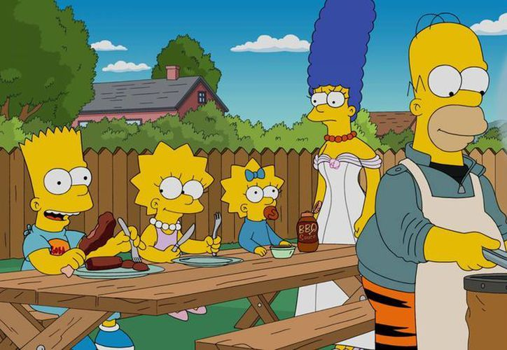 """Bart, Lisa, Maggie, Marge y Homero en una escena de la serie animada """"Los Simpson"""" en una foto proporcionada por Fox. (Fox via AP)"""
