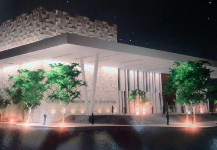 El secretario de Obras Públicas, Daniel Quintal dijo que la construcción del nuevo Centro de Congresos y Convenciones (en la foto, la maqueta) está en la fase de estructura, se está instalando la losa de entrepiso para el estacionamiento, entre otros. (Candelario Robles/Milenio Novedades)