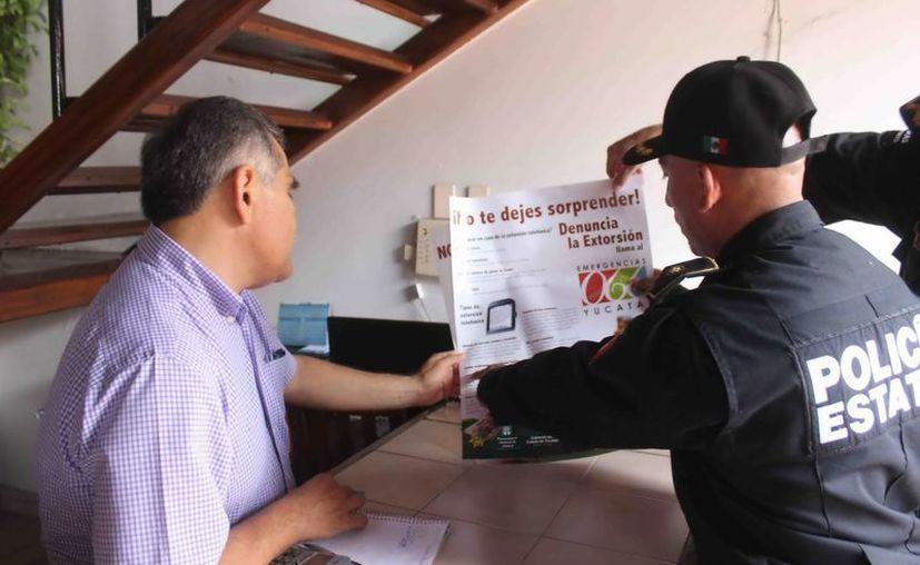 Los agentes de la Policía Estatal visitaron hoteles de Mérida y del interior del Estado. (SSP)