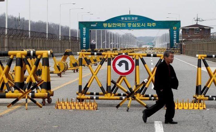 Un hombre camina junto a la frontera en la Zona Desmilitarizada en Corea del Sur. (EFE)