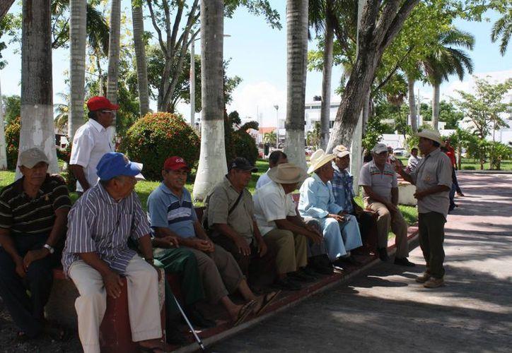 Los jubilados se dan cita desde temprana hora en el parque de la Alameda. (Harold Alcocer/SIPSE)