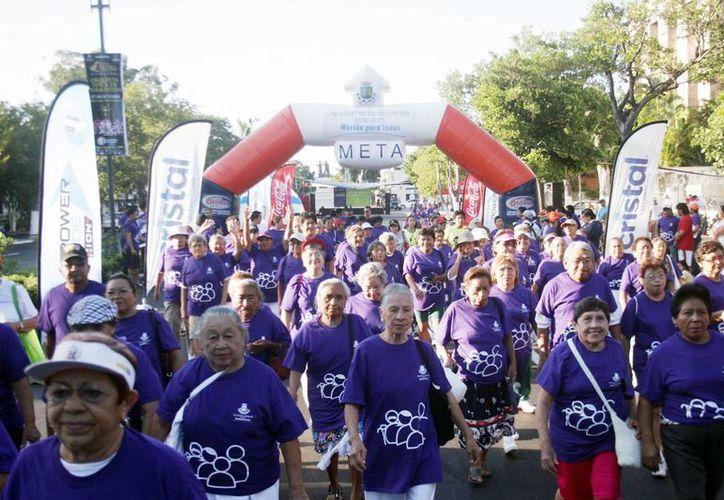 Cientos de adultos mayores caminaron sobre Paseo de Montejo. (Milenio Novedades)