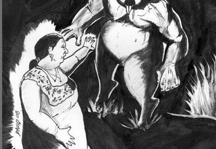 Retrato hablado del 'huay-kekén' que veían en Halachó hace varias décadas. (Jorge Moreno/SIPSE)