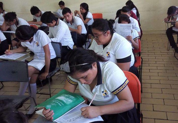 Los estudiantes del Cecyte realizan la prueba de entrenamiento durante sus horarios de clase. (Redacción/SIPSE)
