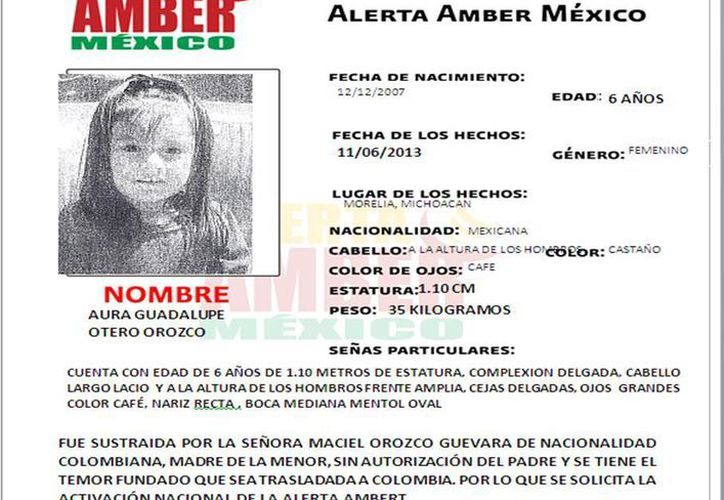 Aura Guadalupe fue sustraída en Morelia, Michoacán. (Cortesía)
