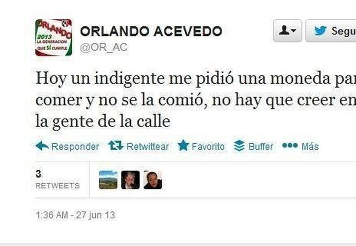 Orlando Acevedo desató la controversia en la red social de microblogging con este comentario.