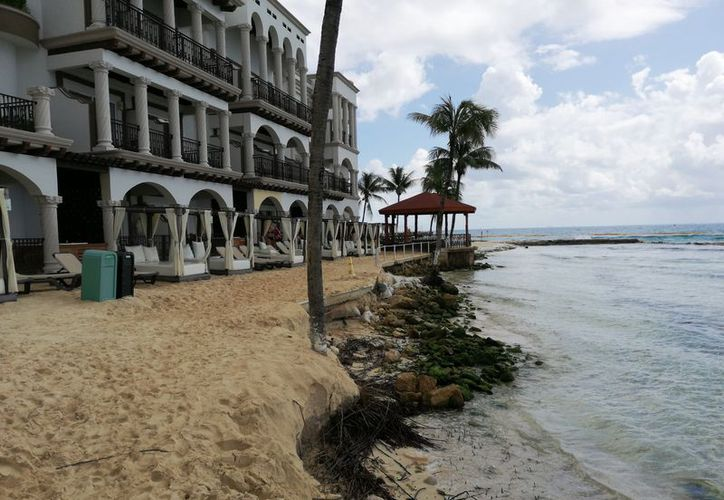 Se observa una afectación de más de 100 metros en ese tramo costero. (Octavio Martínez/SIPSE)