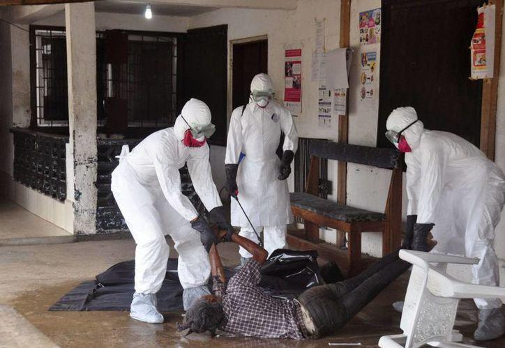 Personal con máscaras y trajes especiales traslada el cuerpo de una víctima que falleció por el virus del ébola en Monrovia, Liberia. (Foto:AP)