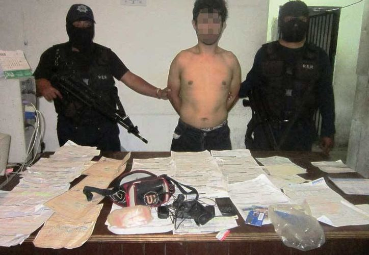 """Ayer fue detenido """"El Barbas"""", que esta presuntamente vinculado con 10 averiguaciones previas por robo.  (Redacción/SIPSE)"""