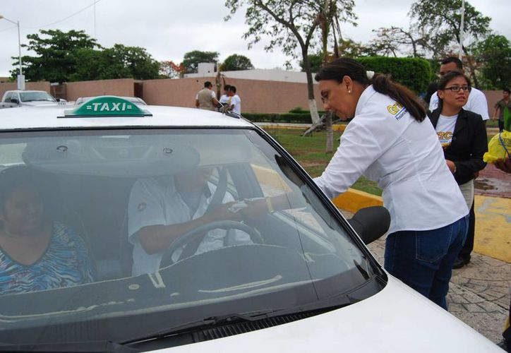 Candidata repartió plantas de la región a los automovilistas. (Tomás Álvarez/SIPSE)
