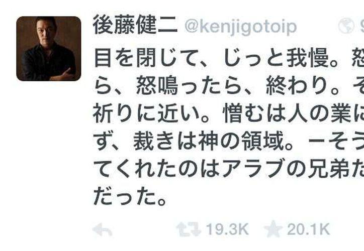 Imagen de la cuenta de Twitter de Kenji Goto tomada el 2 de febrero de 2015 en la que aparece un mensaje del periodista japonés publicado el 7 de septiembre de 2010 que ha sido reenviado por más de 20 mil usuarios. (Foto AP/Kenji Goto via Twitter)