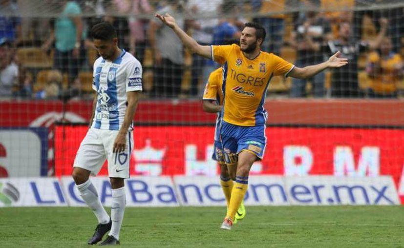 André-Pierre Gignac marcó dos buenos goles para la victoria de Tigres ante el Pachuca. (Liga MX)