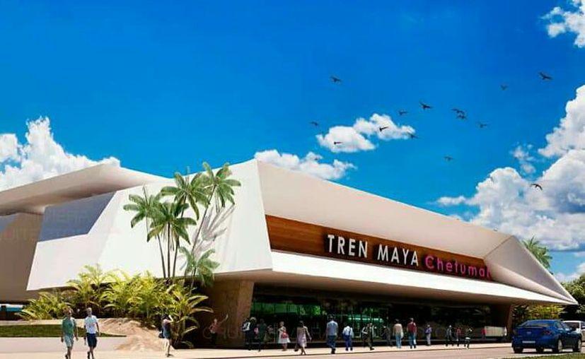 Este es el primer modelo del Centro de Mantenimiento del Tren Maya Estación Chetumal. (Cortesía)