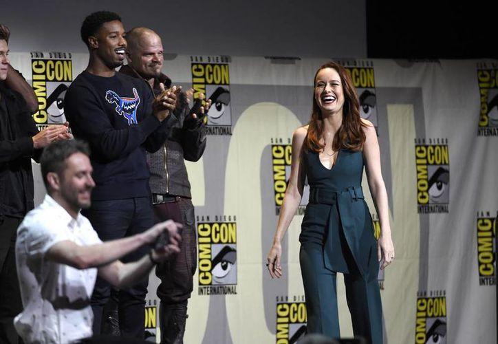 Brie Larson al hacer su aparición en la Comic-Con, que tiene lugar estos días en San Diego, California.  (AP)
