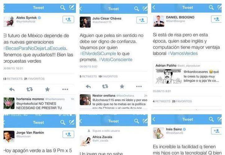 En total, 24 personalidades del espectáculo y deporte tuitearon mensajes de apoyo al Verde Ecologista. (Animal Político)