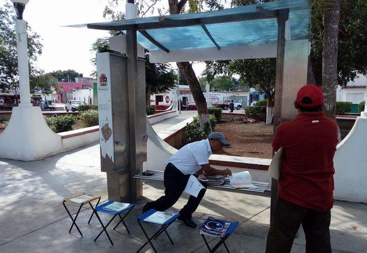 Ofrecen libros para leer en el parque de Las Ballenas. (Gloria Poot/SIPSE)