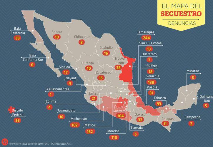 El mapa del secuestro en México. (Milenio)