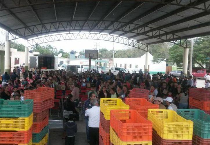 La Secretaría de Desarrollo Rural entregó aves de traspatio en beneficio de más de 700 familias de 17 comunidades yucatecas apartadas. (Foto cortesía del Gobierno de Yucatán)
