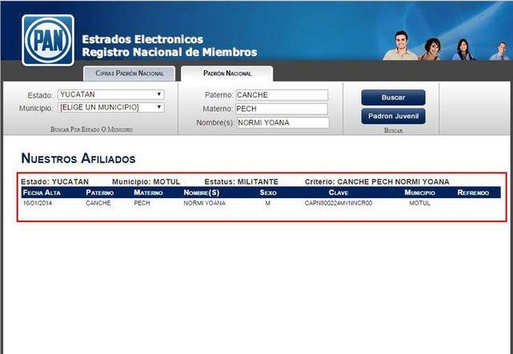 En el sitio web del PAN aparecen los nombres de los militantes, en este caso el de Normi Yoana Canché Pech.(ww1.pan.org.mx/PadronAN/)