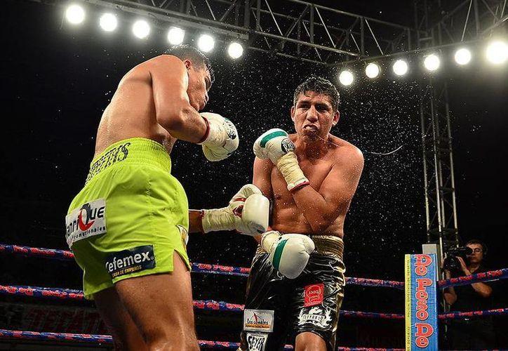 """José """"Barretas"""" Pinzón en pleno ataque contra su oponente potosino Michel """"Bravo"""" Rosales. (Milenio Novedades)"""