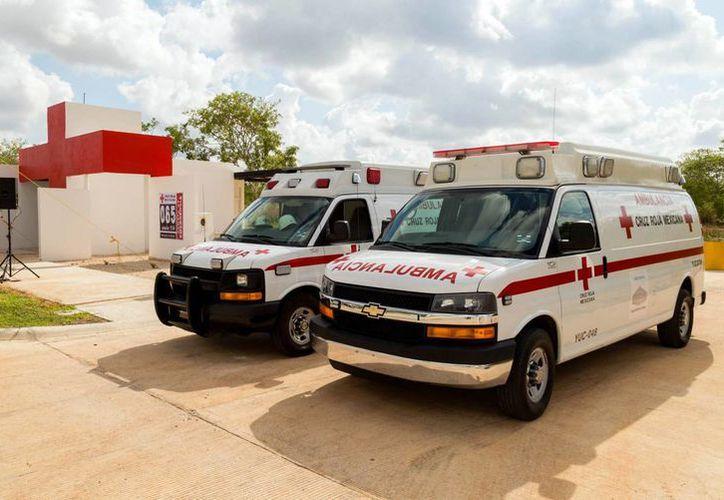 Nuevo módulo de atención de la Cruz Roja Mexicana en el fraccionamiento Piedra de Agua, en Umán. (Fotos cortesía del Gobierno estatal)