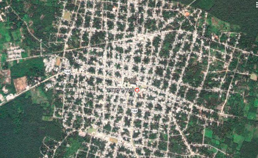 En  la villa de Peto, un asesinato conmocionó a comunidad estudiantil: un joven asesinó a su novia. La imagen, de la vista satelital de Google Maps, está utilizada solo con fines ilustrativos.