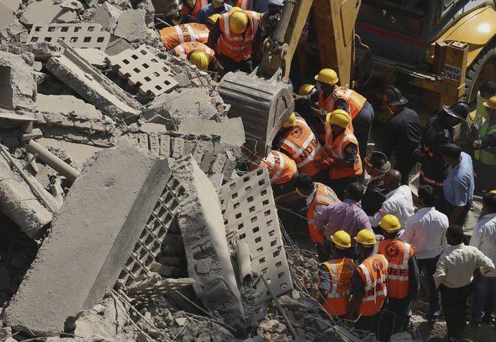 Miembros de la Fuerza de Respuesta a Desastres Nacionales (NDRF) llevan a cabo trabajos de rescate tras el derrumbamiento. (EFE)