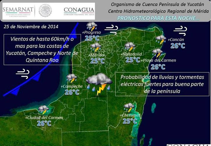 Imagen que muestra los efectos del frente frío 14 en la Península de Yucatán. (Conagua)