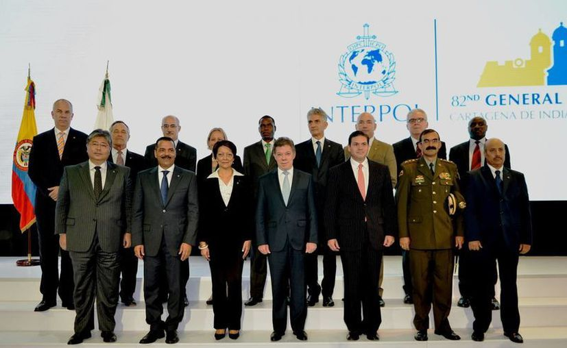 El presidente de Colombia, Juan Manuel Santos, encabezó la 82 Asamblea General de la Interpol. (Notimex)