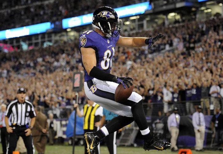 El tight end de Ravens Baltimore, Owen Daniels, celebra su touchdown durante la primera mitad del partido contra Pittsburgh Steelers. (Foto: AP)